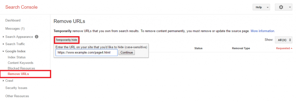 درخواست حذف url صفحات ایندکس شده در گوگل
